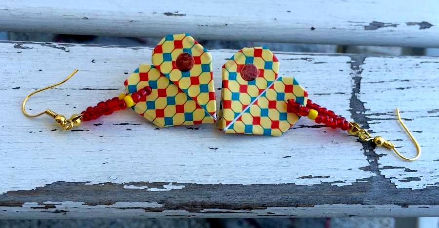 orecchini fatti a mano rivestiti con washi tape