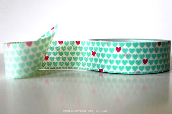 washi tape fantasia cuori menta