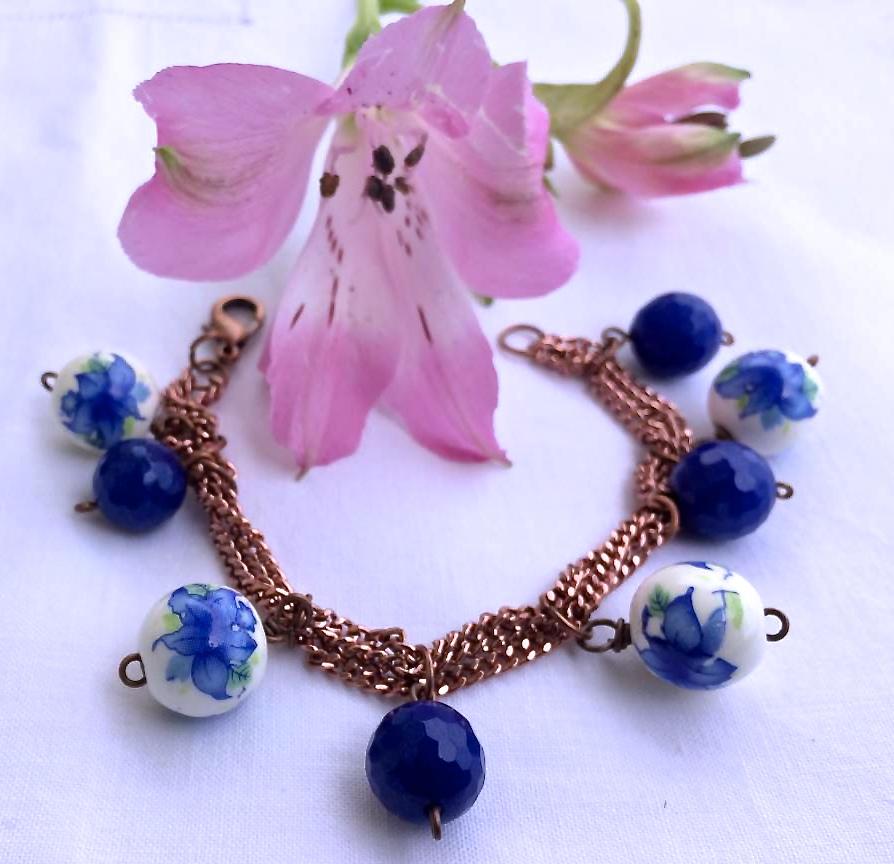 bracciale fai da te agata blu catenina rosa-