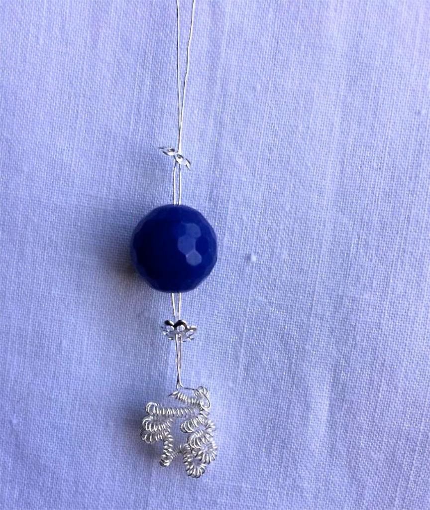 orecchino wire con agata blu