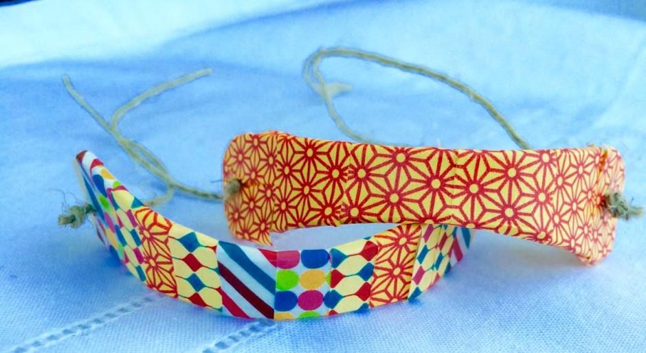 bracciali con washi tape e stecco del gelato