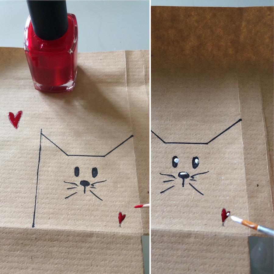 come decorare il pacchetto con gattino