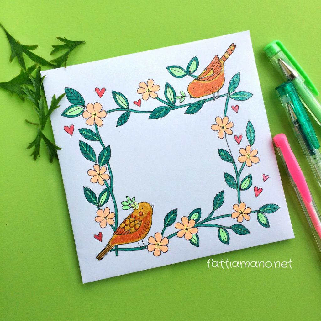 busta biglietto colorato a mano per matrimonio con uccellini