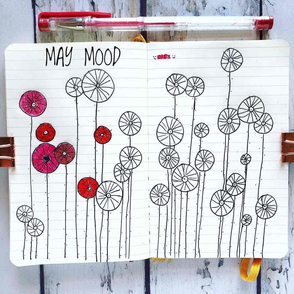 moodtracker con papaveri per journaling