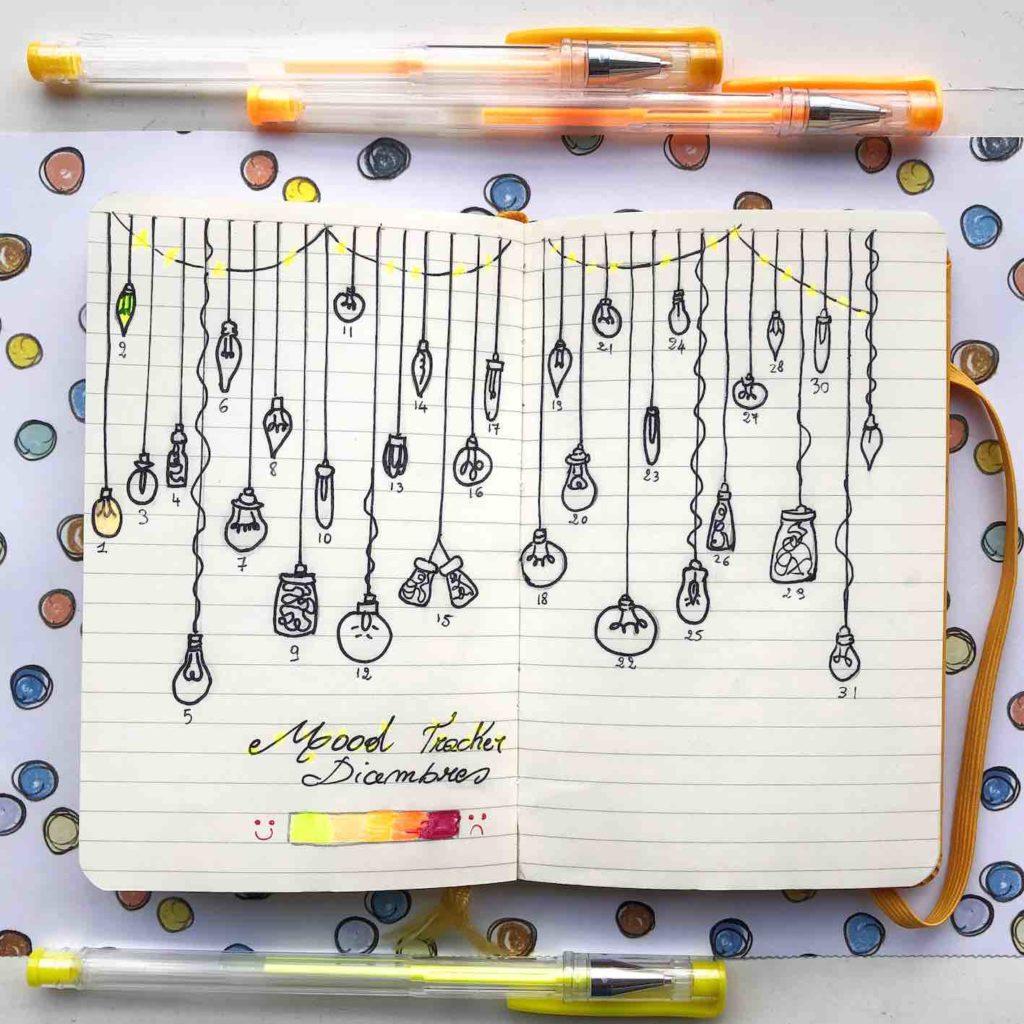 mood tracker dicembre per bullet journal