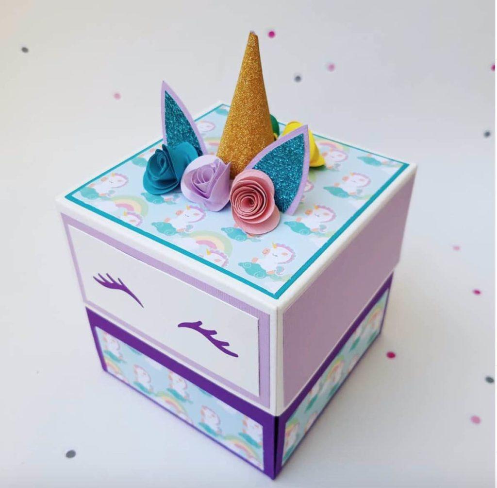explosion box per una bimba con unicorno